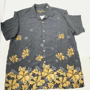 Tommy Bahama Mens Black Floral Button Up Shirt L